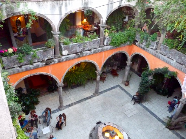 The Melrose courtyard with string quartet
