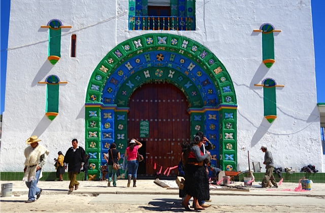 The entrance to the church in Chamula