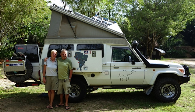 Hans and Bente in front of their off road wonder vehicle