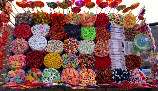 Contents of a candy cart on Guadalupe Street