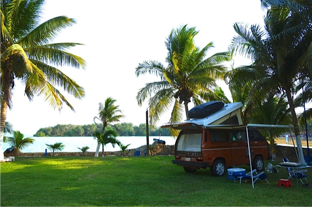 Dan tucked away in one corner of the Yax Ha campground in Chetumal, Mexico
