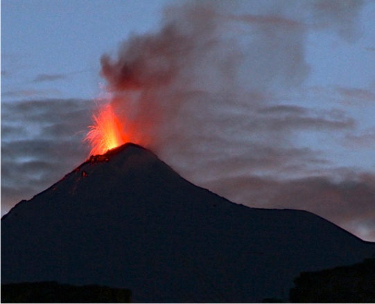 Volcano Fuego managed an eruption for us the first night in Antigua