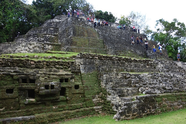 The Jaguar Temple at Laminai--note the image to the left of the staircase