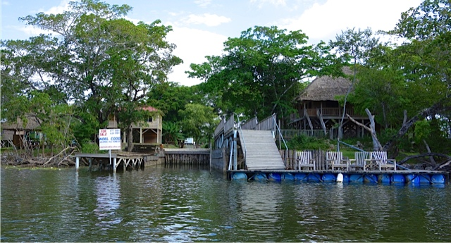 The property from the river which extends inland and has a number of structures