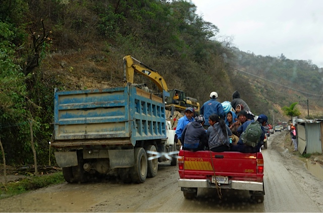 One of the smaller landslides and the local means of transportation