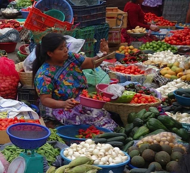A Mayan woman buried in the color of her vegetables