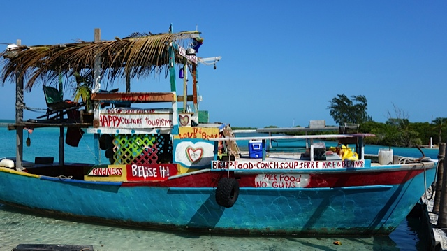 "Rasta Boat tied up at The Split. Her name is ""Old Time Reggae"""