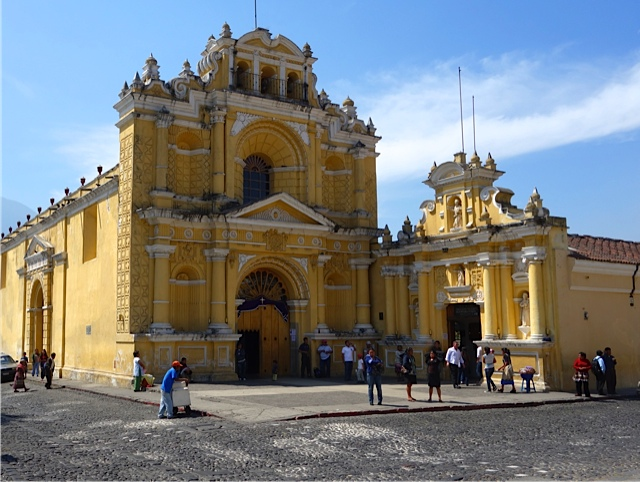 The San Pedro Church and Hospital (still in use today) which were restored after the 1773 earthquake
