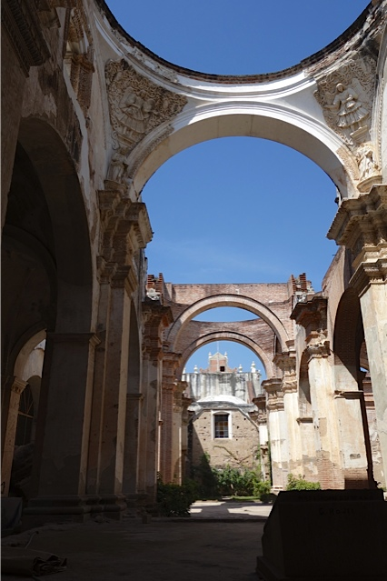 The remaining arches without the domes they supported in one of the Cathedral side buildings