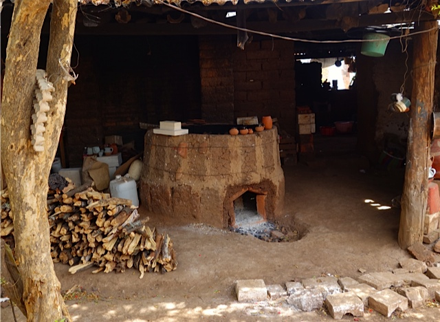 A simple wood fired kiln which when full of pottery is covered with earth and fired