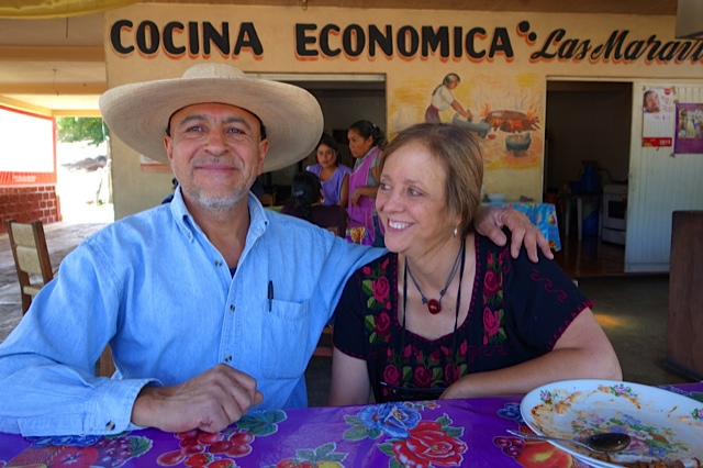 Marcia and Enrique at lunch and happy together