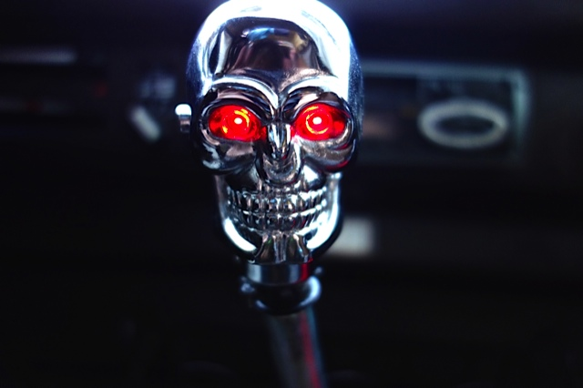 Dan's new gearshift knob. The eyes light up when you shift!