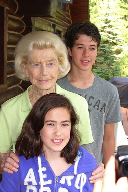 Bonnie's mom Nonnie with her great grandchildren Maya and Cam