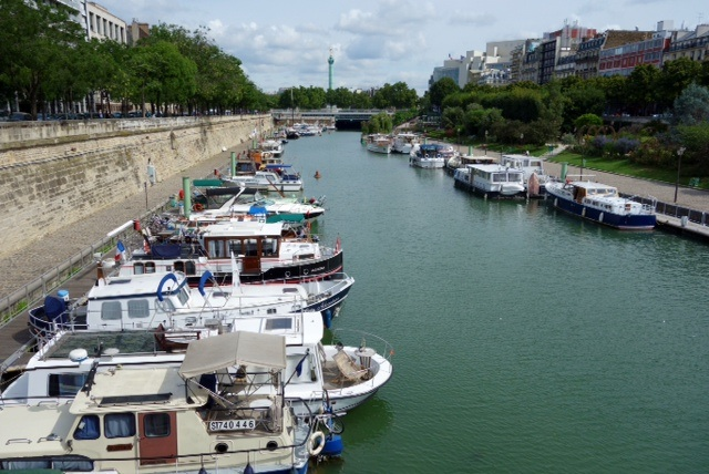 The Arsenal in Paris lined with canal boats from all over Europe