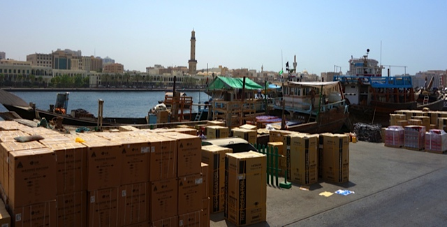 Refrigerators about to be loaded on a dhow for India