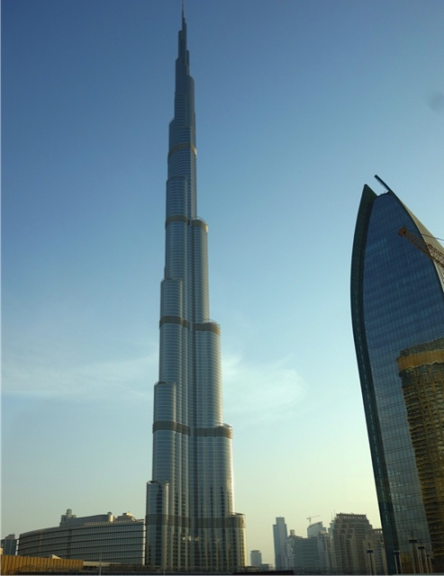The Burj Kalifa, the world's tallest structure at 164 stories occupied plus the spire atop it.