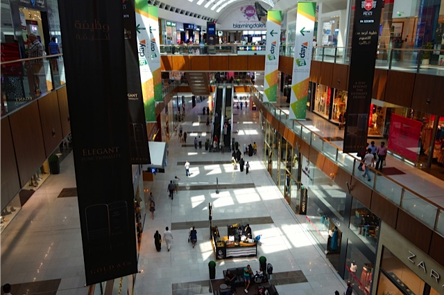 One of many many halls at the Dubai Mall with Bloomingdales at the end