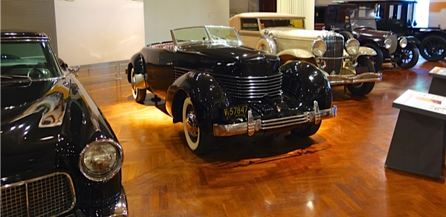 Cord automobile from the 1930's. Among its innovations was its streamlined design, front wheel drive and hidden headlights. Behind it is a Dussenberg of the same era.