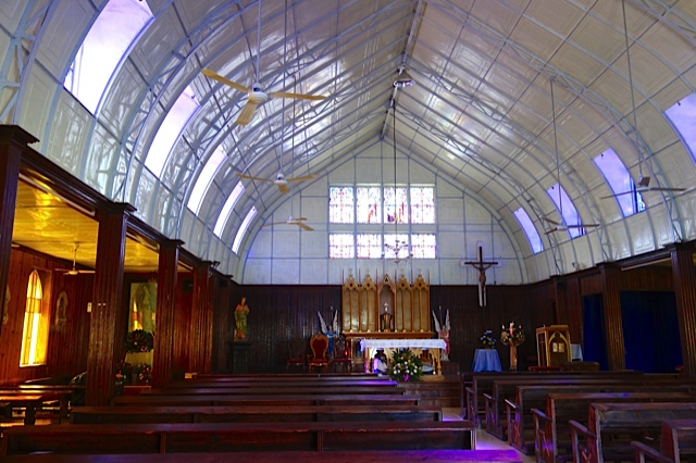 Interior of the Eiffel church with its innovative roof supports