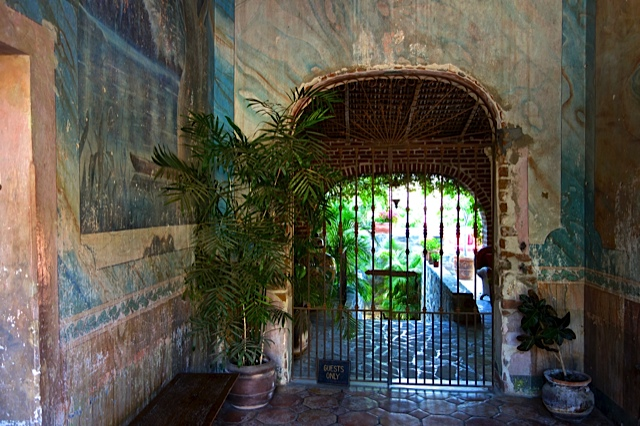 The entrance to one of several beautiful old hotels
