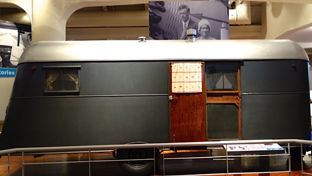 The simple trailer in which Charles Lindbergh and his wife Ann Morrow toured the country in during summers