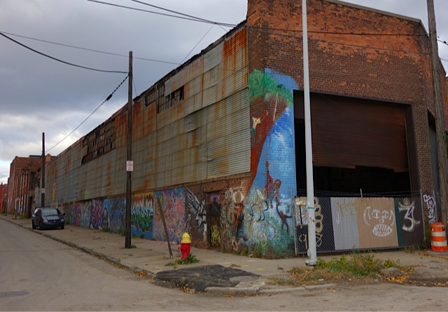 An abandoned and decorated building in the Parke Davis area