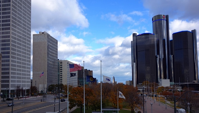 Renaissance Center on the right, It was built with the support of Henry Ford II and is now the world headquarters of General Motors