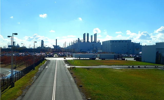 A view of the River Rouge Plant from its entrance driveway. Only a small part of its total size is visible