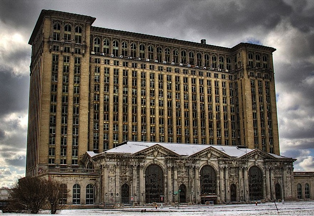 The exterior of the Michigan Central Terminal