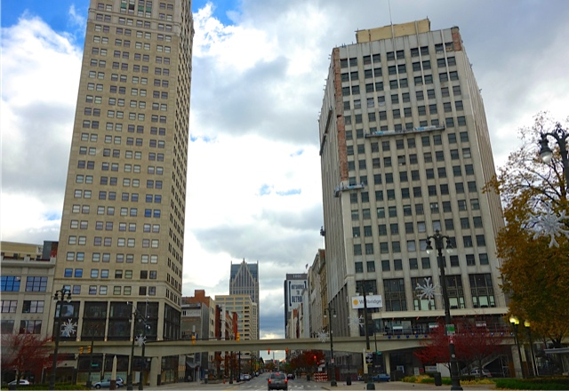 Woodward Avenue, Detroit's 'Main Street' with the David Whitney Bldg. on the right where Dave's father practiced dentistry for 42 years. The People Mover which circles the downtown area is in the foreground.