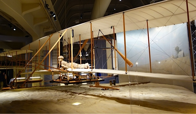 An exact replica of the Wright brothers' first aircraft