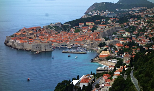 Dubrovnik from high above, looking down on its ageless harbor