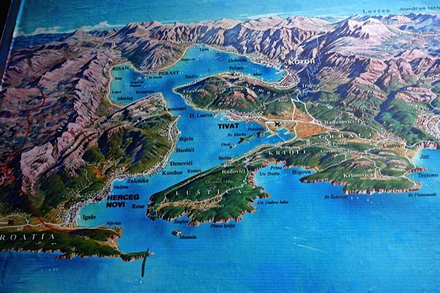 A map of the Bay of Kotor