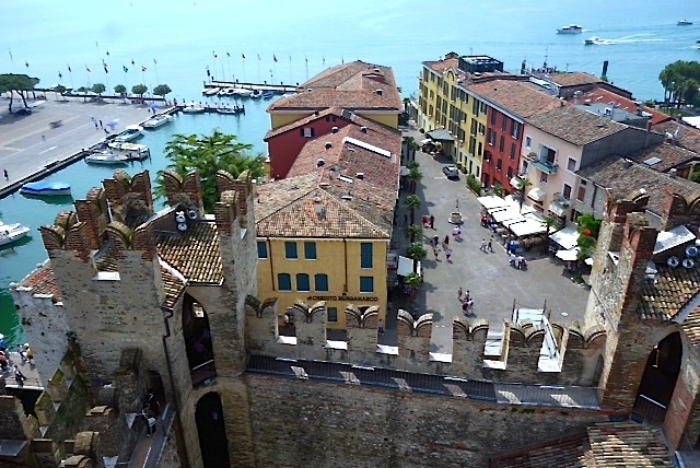 The town of Sirmione from the tower of the medieval fortress