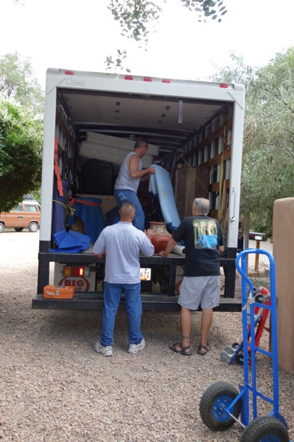 The consignment truck nearly loaded