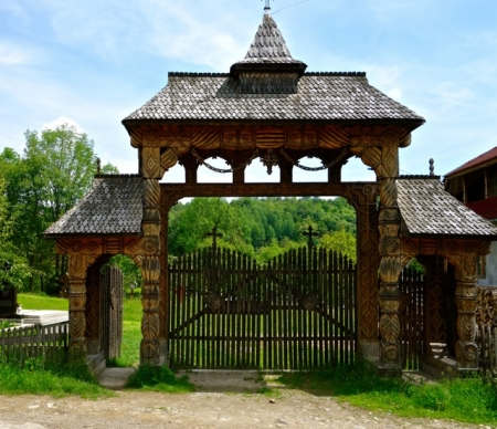 Wooden gate for rural church in Breb, Romania